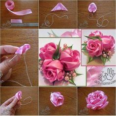 Sewing Fabric Flowers It's really great to make flowers in the Spring, a season with booming flowers. Ribbon, specially satin flowers give you a shining and silky warmth. Materials: Ribbon Scissors Needle and thread Diy Ribbon Flowers, Satin Ribbon Flowers, Cloth Flowers, Ribbon Art, Ribbon Crafts, Fabric Flowers, Zipper Flowers, Pink Ribbons, Satin Ribbons