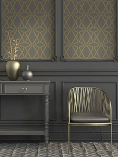 Add richness and drama to your entryway. Tyles Open Lattice in Metallic Gold is spectacular when applied to this dark gray wall. Paint all the mouldings and panels in the same dark color to add to the drama.