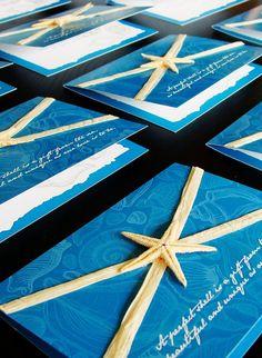 Beach Themed Wedding Invitation, Blue Wedding Invitations, 2014 starfish beach wedding invitations #beach #wedding #invitation www.loveitsomuch.com