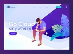 Cloud Max Landing Page Go Cloud Any Where Illustration Web Design Websites, Web Ui Design, Website Illustration, Flat Design Illustration, Creative Web Design, Isometric Design, Website Design Layout, Web Design Projects, Startup
