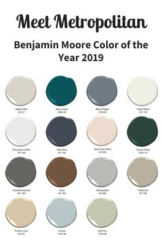 Benjamin Moore releases its highly anticipated 2019 color of the year: Metropolitan a stylish gray with cool undertones. (A win for neutrals! Interior Paint Colors For Living Room, Bedroom Paint Colors, Paint Colors For Home, House Colors, Interior Painting, Office Paint Colors, Trending Paint Colors, Wall Paint Colors, Benjamin Moore Paint