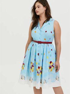 Her Universe Disney Pixar Retro Up Blue Belted Swing Dress Poplin Dress, Poplin Fabric, Vintage Tees, Swing Dress, Black Leggings, Torrid, Plus Size Dresses, Disney Pixar, Summer Dresses