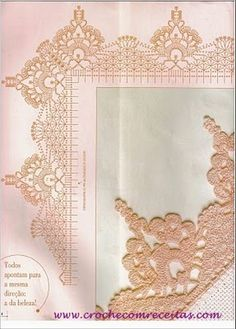 Check out the diagrams and learn to make more than 150 points, (crochet edgings) with images. There are several crochet borders that can be applied in various crochet projects.Comprueba los gráficos, y apre Crochet Border Patterns, Crochet Collar Pattern, Crochet Boarders, Crochet Lace Edging, Crochet Motifs, Crochet Diagram, Crochet Chart, Thread Crochet, Crochet Trim