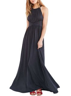 The evening dress is featuring round neck, pullover styling, sleeveless, high waist, back crisscross strap, solid color and ankle length.