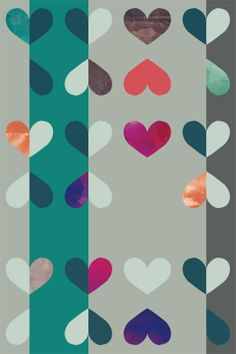 Hearts Apart in Teal/Purple. Removable wallpaper from Timothy Sue.
