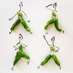 "What's your favorite food to use? ""String beans and banana peels lend themselves very well to leggy models strutting around. Happily, they've inspired me to wear more palazzo pants."" #refinery29 http://www.refinery29.com/gretchen-roehrs-food-fashion-illustrations#slide-4"