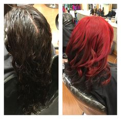 Total transformation to an amazing red with magenta an deep violet