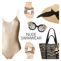 """""""Bare It All: Nude Swimwear"""" by dressedbyrose ❤ liked on Polyvore featuring Oséree, Henri Bendel, Dorothy Perkins, Kreisi Couture, Alice + Olivia, swimsuit, polyvoreeditorial and nudeswimwear"""