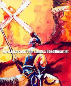 0abfb18937b Don Quijote Art Print by Puerto Rico Artist Obed Gomez Don Quixote Art Man  of La Mancha Don Quijote de la Mancha Arte Don Quijote Fine Art