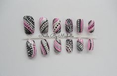 pink, white & black dots handpainted nail set by NailsByMichelle on Etsy, $10.35