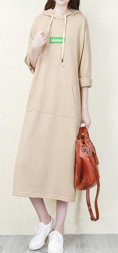 59bd7ad735 Italian nude cotton dresses Fine Shape hooded pockets Plus Size Dress  cottondress nudedress