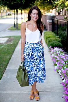 Pretty blue and white midi skirt