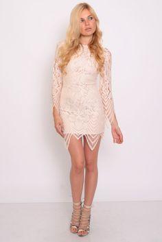 Cream Scallop Edge Lace Dress | Rare London