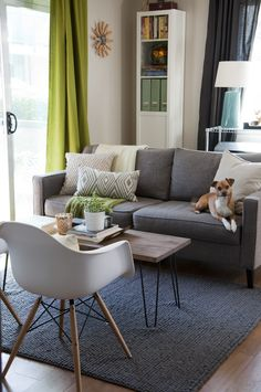 S filtered sunlight apartment therapy home designs living room grey Living Room Decor Grey Sofa, Living Room Green, New Living Room, Small Living, Modern Living, Living Spaces, Living Room Inspiration, Apartment Therapy, Living Room Designs