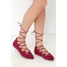 Happy Trending Burgundy Suede Lace-Up Flats ($25) ❤ liked on Polyvore featuring shoes, flats, red, red flat shoes, burgundy flats, lace up shoes, pointed toe flats and red shoes