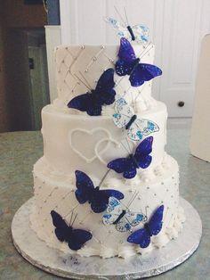 Blue Butterfly Wedding Cake