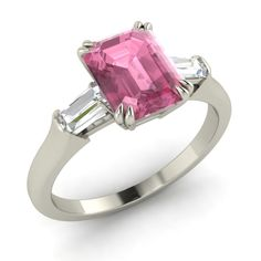 Natural Pink Tourmaline & VS Diamond Engagement Ring In 14k White Gold-1.63 Ct  #Diamondere