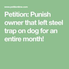 Petition: Punish owner that left steel trap on dog for an entire month! Afrikaans, Steel, Math, Dogs, Math Resources, Pet Dogs, Doggies, Steel Grades, Mathematics