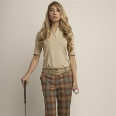 Lizzie Driver Chandler Tan Short Sleeve Polo with Cream Tipping #golf4her