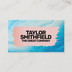 Brushed Rose Gold Blue Painting Business Card Company Business Cards, Teen Art, Blue Painting, Keep It Cleaner, Smudging, Paper Texture, Holiday Cards, Things To Come, Brushed Metal