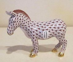 Herend Hand Painted Porcelain Figurine Zebra Chocolate Fishnet Gold Accents.