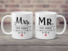 The ultimate mug set for any proudly wedded couple. Personalize with your surname and wedding date. Diy Mugs, Personalized Coffee Mugs, Personalized Cups, Diy Screen Printing, Mug Printing, Fiance Birthday Gift, Mr Mrs Mugs, Retirement Gifts For Men, Sublimation Mugs