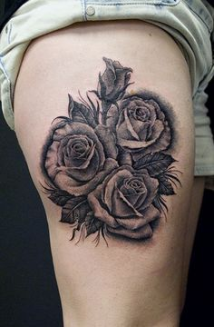 Rose Tattoo – black and grey - For more original and filled composition is better to combine open and closed roses in one sketch. This type of tattoo should be done in realistic style. In addition, tattoo artist can play with color to get a very bright and colorful rose tattoo.
