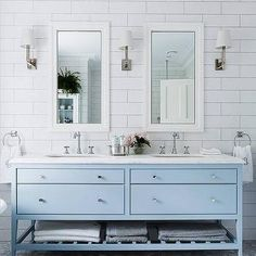 Sky Blue Bathroom Vanity, Transitional, Bathroom