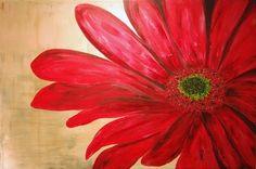Red gerbera daisy painting
