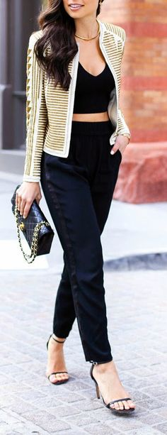 Gold Beaded Jacket with Black Silk Trousers and Chanel bag / With Love From Kat