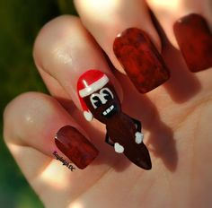 """Mr. Hankey, the Christmas Poo! My first Christmas nails of the year, haha. I remember when Mr. Hankey's Christmas single was released, I bought it on CASSETTE! (Just looked it up - it was in 1998! Eww, now I feel old..) """"Hooooowdy Ho!"""""""
