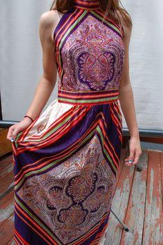 1970s Retro Silky Scarf Dress Disco Fashion by AdeleBeeAnnVintage