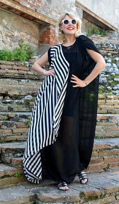 Extravagant Striped Summer Kaftan, Long Striped Black and White Maxi Dress, Asymmetrical Black and White Kaftan TDK253, La Dolce Vita