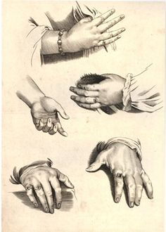 Study of five hands, four of which with jewellery; unsigned; sheet 2 from a drawing book; after Peter Paul Rubens Engraving