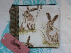 Handmade Makeup bag Hares Cotton Fabric Harris Tweed Cosmetic Bag Pouch Rabbit in Clothes, Shoes & Accessories, Women's Accessories, Purses & Wallets | eBay