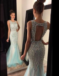 Mermaid Shinny Beaded Prom Dresses,Open Back 2017 Prom Dresses Formal Gowns Long Evening Dress,APD1871