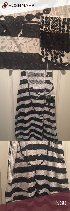 MM unplugged B&W tank with sequins Super sexy, slightly sheer, cotton tank with black sequins on the black stripes. Great with denim shorts or jeans!  Never worn. MM unplugged  Tops Tank Tops