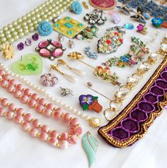 Grandma's Garden, Colorful Craft Jewelry Destash, broken vintage lot to repurpose