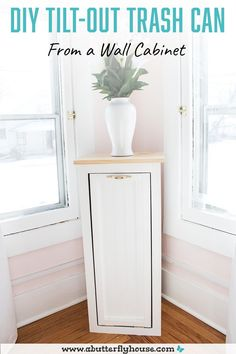 Grungy wall cabinet becomes beautiful and functional tilt-out trash can in this simple DIY! #FurnitureFlips #DIYProjects Diy Furniture Flip, Thrift Store Furniture, Kitchen Wall Cabinets, Diy Cabinets, Kitchen Redo, Beginner Woodworking Projects, Diy Woodworking, Trash Can Cabinet, Butterfly House