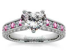 Heart Antique Diamond & Pink Sapphire Gemstone Engagement Ring in White Gold  http://www.brilliance.com/engagement-rings/antique-diamond-pink-sapphire-gemstone-ring-white-gold