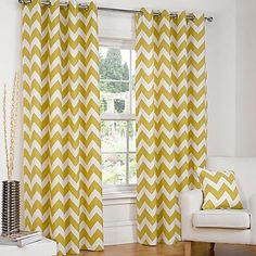Chevron Pair of Eyelet Lined Curtains