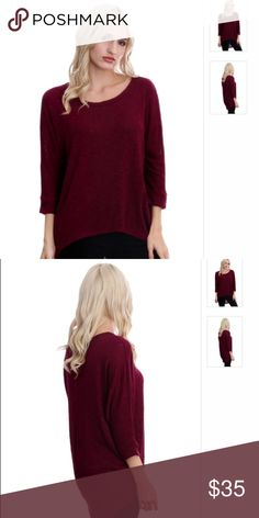 🌟JUST IN🌟 Burgundy Hi Lo Dolman Burgundy hi lo dolman- 48% polyester 48% rayon 4% spandex. This top runs a little big!! Wash instructions: hand wash cold & hang dry. *** Last two photos are most accurate representation of color. Boutique  Tops Tees - Long Sleeve