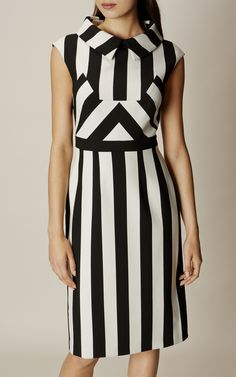 Karen Millen, MULTI-STRIPE DRESS Black & White