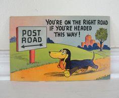 Vintage Postcard Dachshund Dog 1940s Humor by MunasTreasures