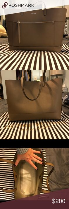 Southstreet Carryall EUC 100% Saffiano Leather Tote bag - no marks, stains or barely any signs of use. Great for work school or everyday! Color from Henri Bendel is called Otter and the interior color is a pretty gold. Last Photo is the same bag different pattern on the website for the exact measurements plus a picture of the bag on my shoulder. Original Tags and Dustbag included! henri bendel Bags Totes