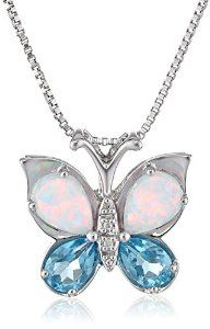 "Sterling Silver Swiss Blue Topaz and Created Opal Butterfly Pendant Necklace, 18"" available at joyfulcrown.com"