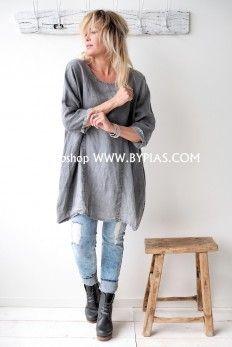 BOHEMIANA HAPPY Linen Tunic, GREY