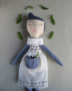 Abracadabra and stuff Whimsical plusies and rag dolls. Fabric handmade Rag doll Cloth doll with blue purple painted hair White linen outfit BW Girl gift Birthday gift Soft doll Plush toy soft Hand Painted Dress, Birthday Gifts For Girls, Craft Box, Rag Dolls, Soft Dolls, Girl Gifts, Plushies, Purple, Blue