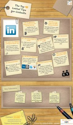 Here is another visual of 10 tips for everyone who already uses their LinkedIn accounts or for those who are new and want to know what's important on the site. -Beatrice Rivera