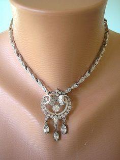 Great Gatsby Jewelry, Art Deco Jewelry, Downton Abbey Jewelry, Crystal Choker, Bridal Necklace, Rhinestone Choker, Diamante Necklace Sparkly on Etsy, $74.00